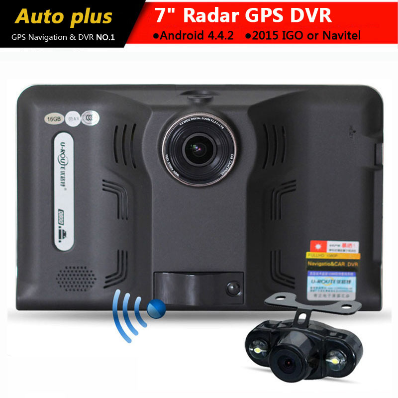 2015 New 7 inch Car GPS Navigation Android rear view Anti Radar Detector Car DVR 1080P Truck vehicle gps AV-IN Tablet PC 16GB(China (Mainland))