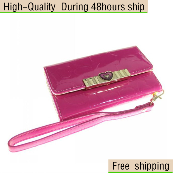 New Luxury Heart-shaped Design Leather Wallet Pouch ID Case for Samsung Galaxy S3 i9300 Free Shipping DHL HKPAM CPAM