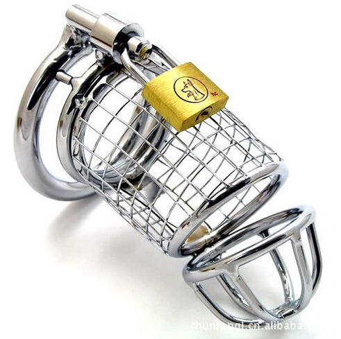 Free Shipping Stainless Steel Silver Lockable Cock Ring Penis Ring Cock Cage Penis Cage Sex Toys for Men Black Penis Rings(China (Mainland))