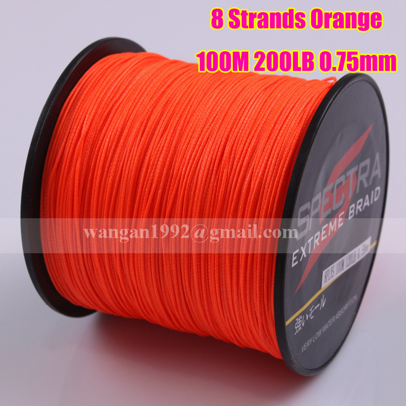 Wholesale spectra braid fishing line 100m 8 strands orange for Bulk braided fishing line