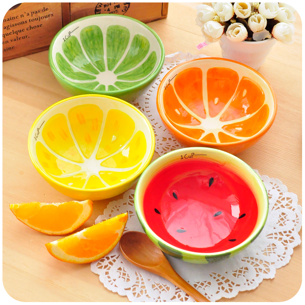 Hearts . glaze fruit ceramic rice bowl soup japanese style home 1pc - hotbuy's store