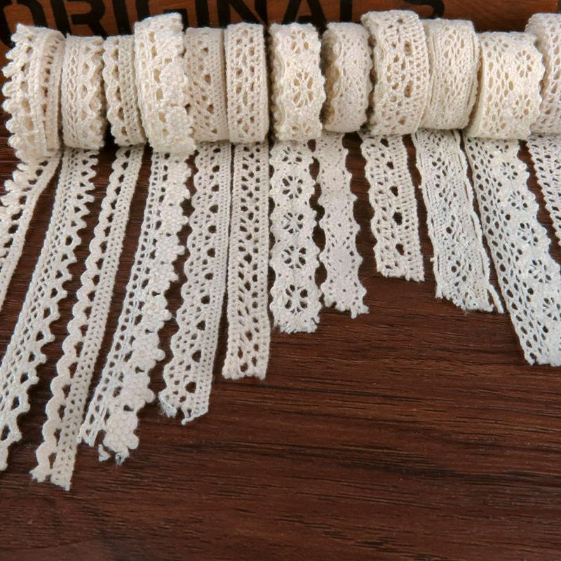 Apparel Sewing Fabric 5 Meters DIY Ivory Cream Trim Cotton Crocheted Lace Fabric Wedding Decration Handmade Accessories Craft(China (Mainland))