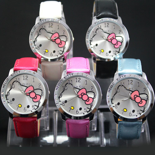 1PC Hello Kitty Lady Students Girls Womens Woman Fashion Gifts Quartz Wrist Watches, 5 Colors Available(China (Mainland))