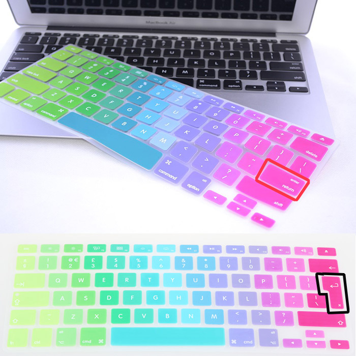 Gradient color rainbow Silicone UK/EU/US layout Keyboard Protector Cover Stickers Film For Macbook Air 13 Pro retina 13 15 17(China (Mainland))
