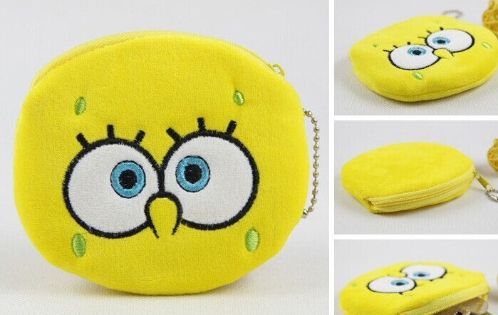 Cute Round 10CM Plush Sponge BOB Pendant Makeup Storage BAG Holder Pouch Handbag - Lady's Coin Purse & Wallet Pouch Case BAG(China (Mainland))