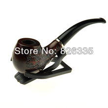 Classic Wooden Cigarette Holder Bent Type Tobacco Smoking Weed Pipe with Free Stand