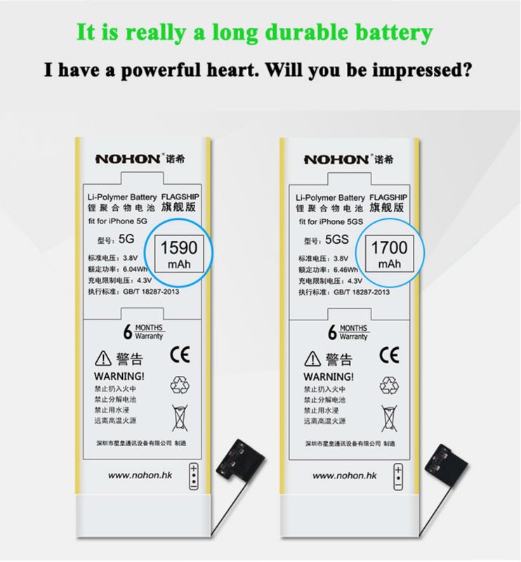 NOHON Battery For Apple iPhone 5 Details (04)