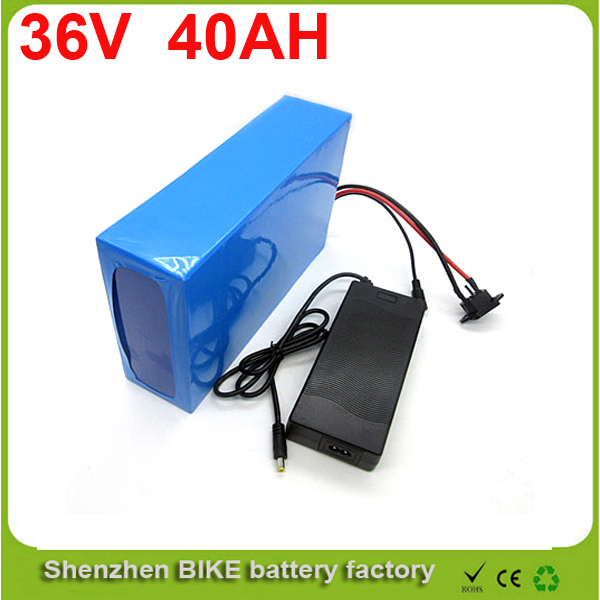 1000W 36V 40AH Electric Bicycle Battery 36V Lithium Battery 36V 40AH E-bike battery 30A BMS 2A charger For Samsung cell(China (Mainland))
