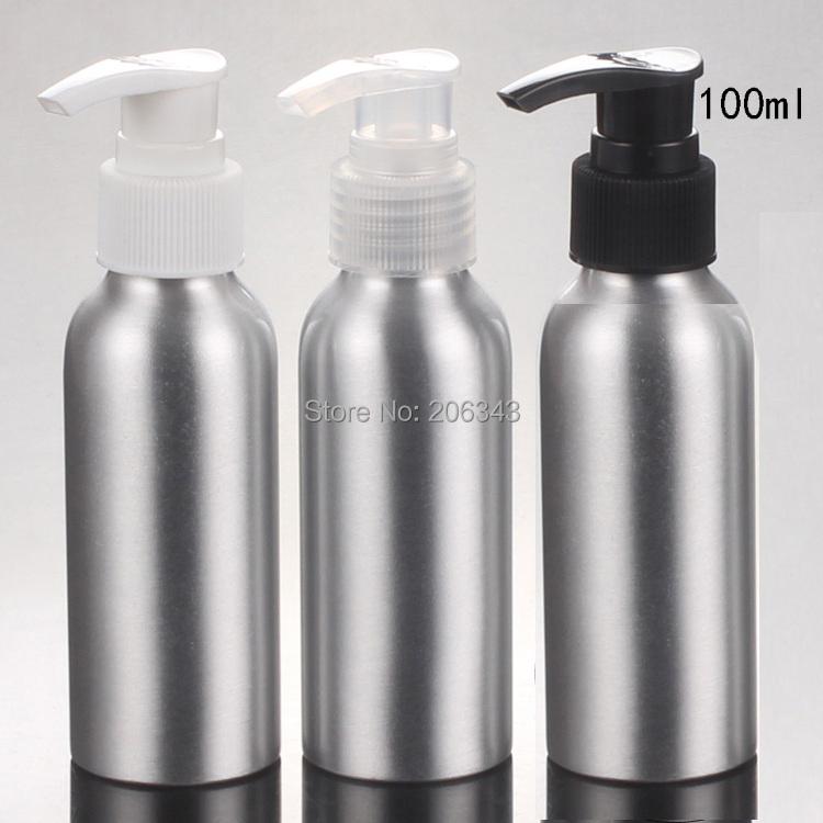100pcs 100ml Aluminium bottle  metal bottle  with white /black/ transparent  lotion press pump