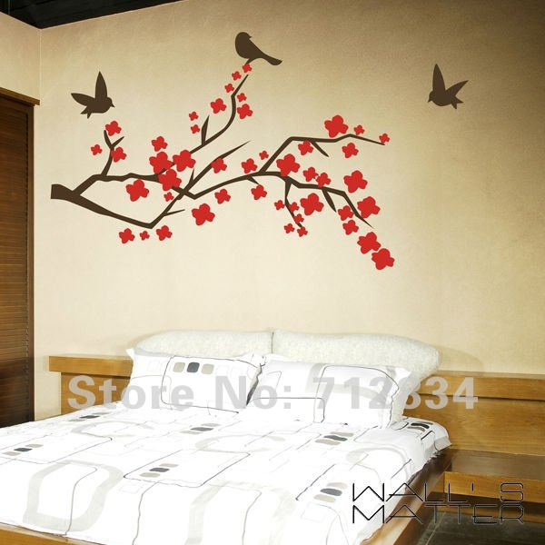 [B.Z.D] Free Shipping WALL'S MATTER Home Decor Spring Tree Wall Stickers Wall Decals 130x90cm(China (Mainland))