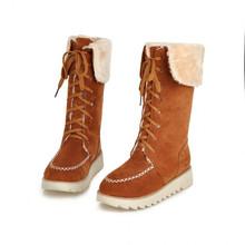 Corea 2015 súper ventas nueva mujer mitad de la pantorrilla botas mujer con cordones moda plataforma plana montar invierno nieve caliente botas zapatos más el tamaño(China (Mainland))