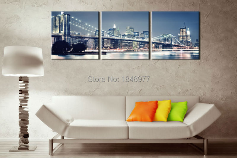 3 Piece Modern Home Decor Painting New York City Night Landscape Abstract Paintings Art Pictures Canvas Prints For Living Room Olivia