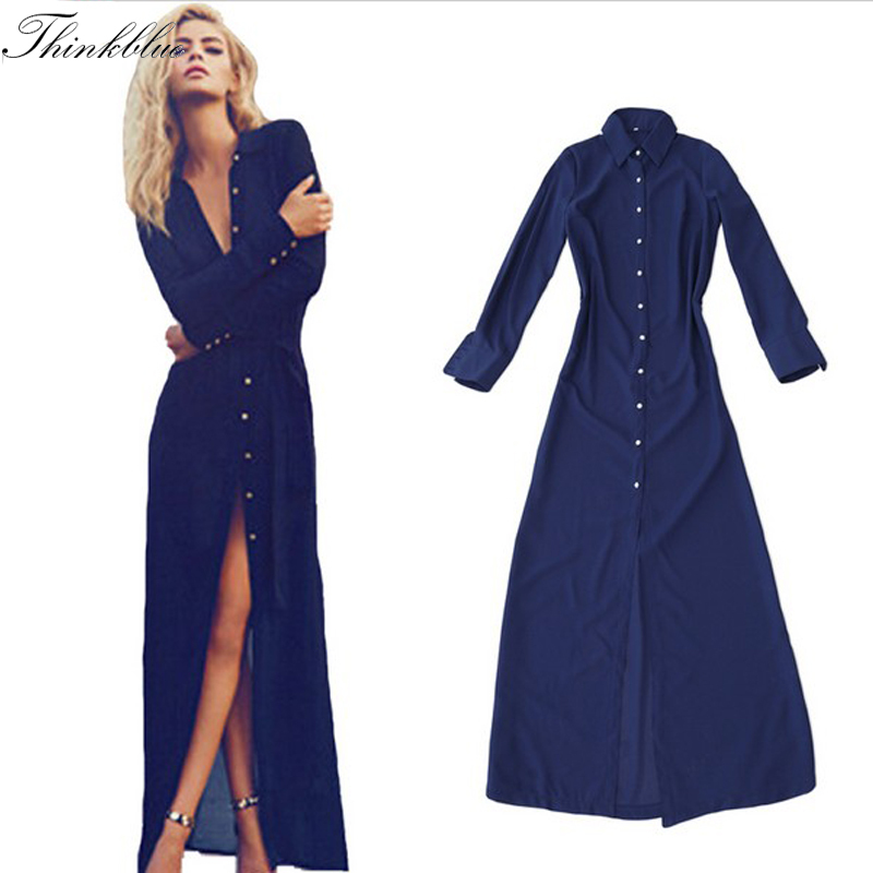 New 2015 fashion chiffon long shirt dress navy maxi shirt Women s long sleeve shirt dress