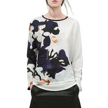Women floral print T shirt O-neck long sleeve shirts vintage loose Roupas Femininas casual street wear tops LT533(China (Mainland))