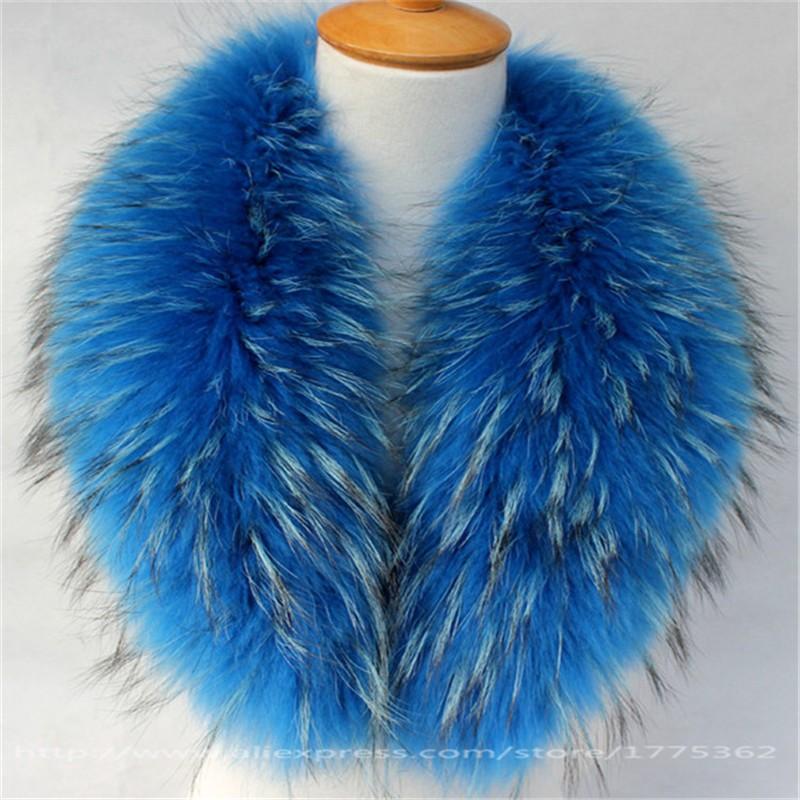 Real Raccoon Fur Collar for Coat Hooded Hat Jacket Autumn Winter Warm Fur Raccoon Scarf Outerwear Coat Removable Fur Collar S#4