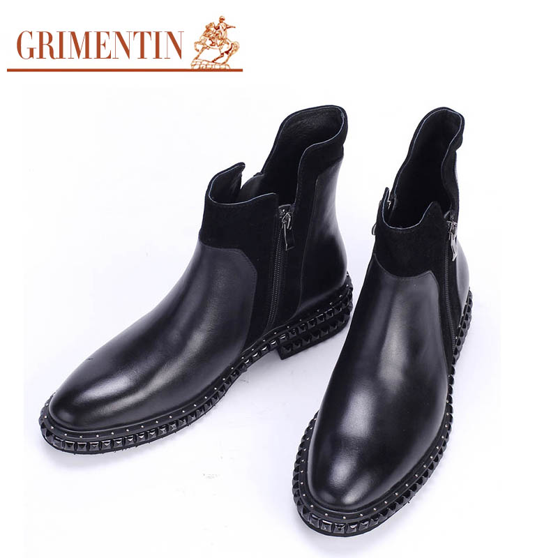 GRIMENTIN fashion Italian luxury cowboy mens boots casual genuine leather black men shoes formal for office business zb364(China (Mainland))