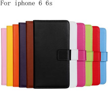 Luxury Plain Weave Genuine Wallet leather Case For iPhone 6 6S Flip Cover Mobile Phone Bag Card Slot Handbag Stand