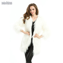 Women Winter Elegant White Fur Coat 2015 Three Quarter Sleeve Faux Fur Coats Ladies Fur Jacket Long Pelliccia Overcoat