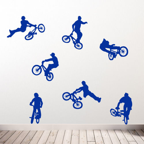 bmx childrens wall stickers art mural decor sticker diy c childrens transport vehicles cars wall stickers decals