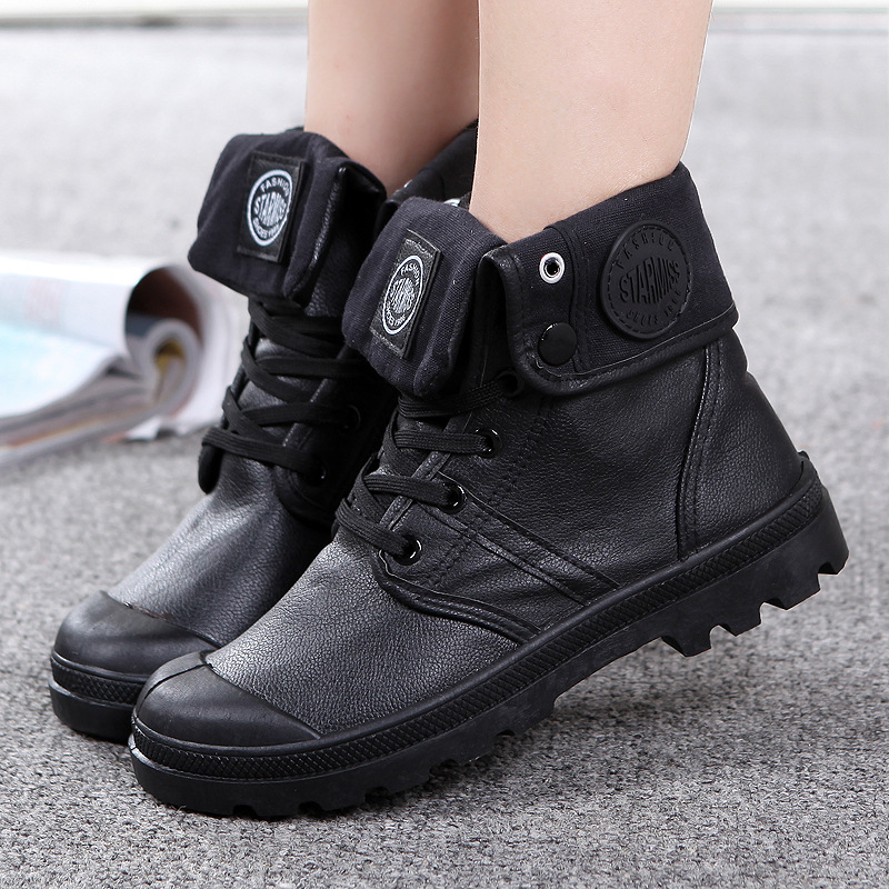 Lastest Palladium Womens Black Pampa Hi Leather Boots 92355-001 | TOWER London