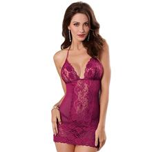 New Hot Lace Women Sexy Erotic Lingerie Bandage Backless Halter Nightdress Transparent Deep V Sleepwear Sex Costume T-pantsQQ557