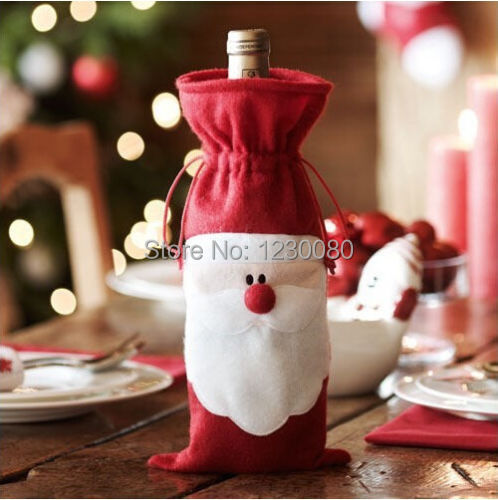 2014 Merry Xmas Santa Claus Wine Bottle Cover Christmas Dinner Party Table Decor Red(China (Mainland))