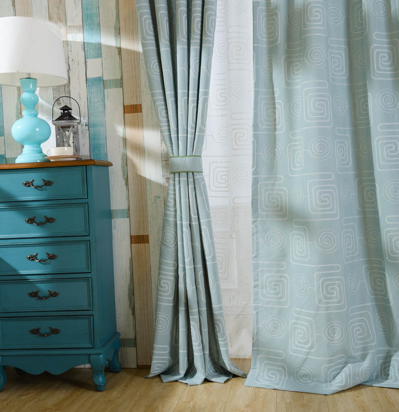 Solid curtains for living room bedroom balcony blue cloth white yarn cortinas cotton linen finely processed wp310#30(China (Mainland))