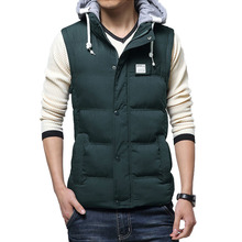 2016 new arrival hot sale winter men's casual down cotton hooded padded vest Solid men down vest plus size m-3xl 65(China (Mainland))
