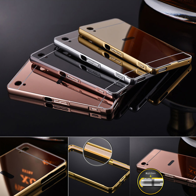 Newest For Sony M5 Aqua Cover Mirror Acrylic Phone Cover For Sony Xperia M5 Case M4 Aluminum Metal Frame + PC Mirror Case Coque(China (Mainland))