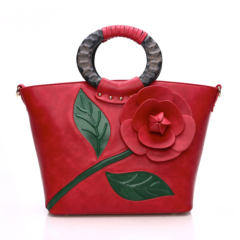 Classic vintage rose three-dimensional flower big tote bag 2016 woodbines portable women's handbag shoulder cross-body bag()