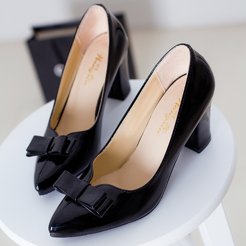 thick high heels pointed shallow mouth sweet bow ladies woman soft face wedding work shoes summer style women pumps - youmei huang's store