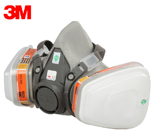 3M 6200 + 6009 Reusable Half Face Mask Respirator mask Mercury Organic Vapor Chlorine Acid Gas Cartridge vapor 7 Items for 1 set(China (Mainland))