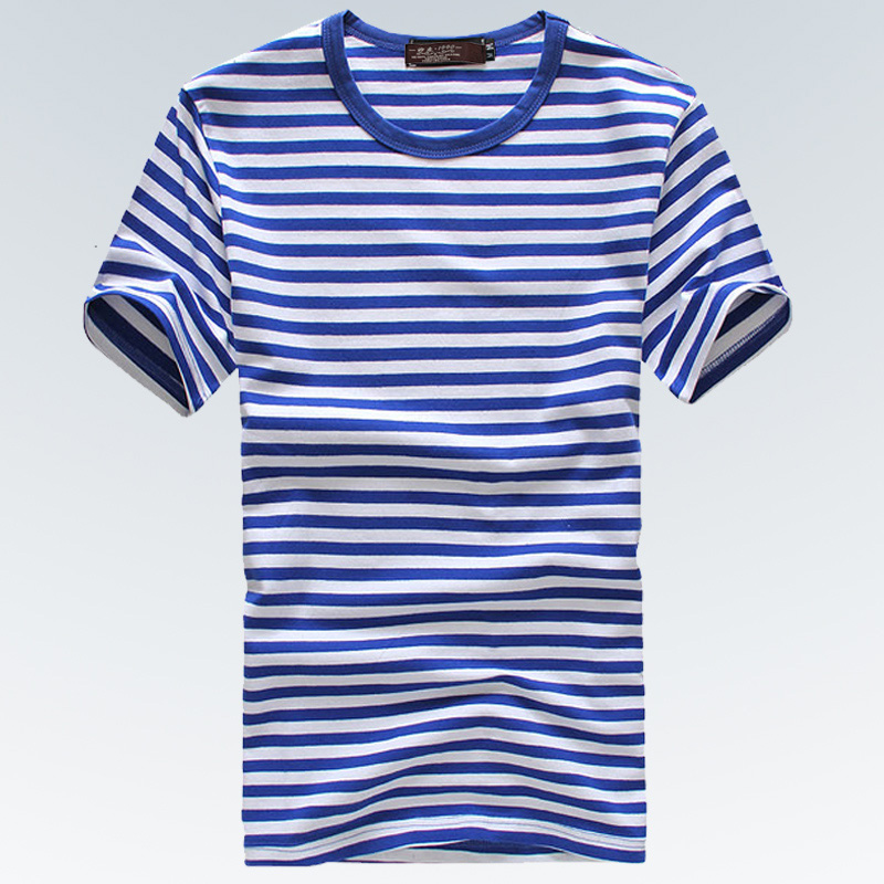 2015 summer navy style shirt mens short-sleeve T-shirt 100% cotton t-shirt black white blue stripe - Boze-Men's Wardrobe store