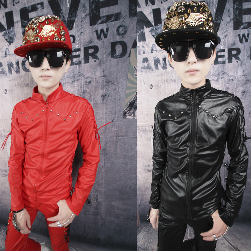 Black red white Winter autumn male leather plus velvet personality rivets leather shirts mens slim coat imported clothing man