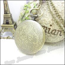 New Steampunk Quartz Dress Pocket Watch Rose Flower Vintage Style Bronze Necklace Pendant Chain Clock