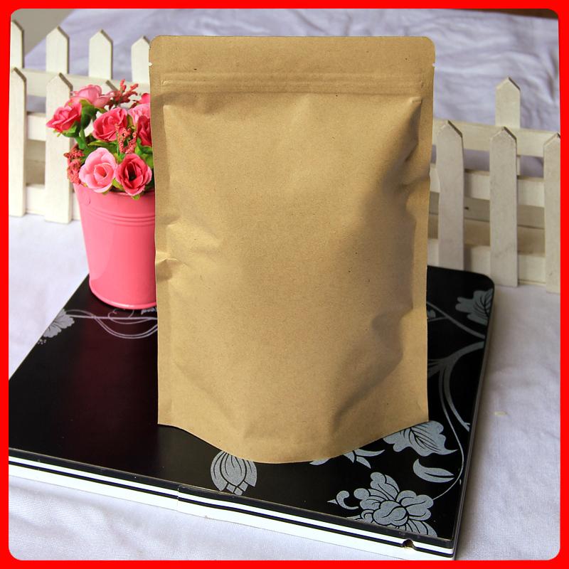 10 15cm*24cm+4cm*140mic Kraft Paper Aluminum Foil Disposable Bags Empty Tea Bag r  -  Packaging Store store
