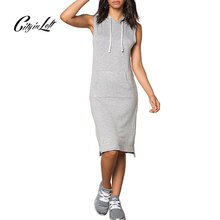 2016 New Fashion Women Sleeveless Active Dress Black White Grey Solid Color Casual Custom Hoodie Dress Sheath Summer Dress 1116(China (Mainland))