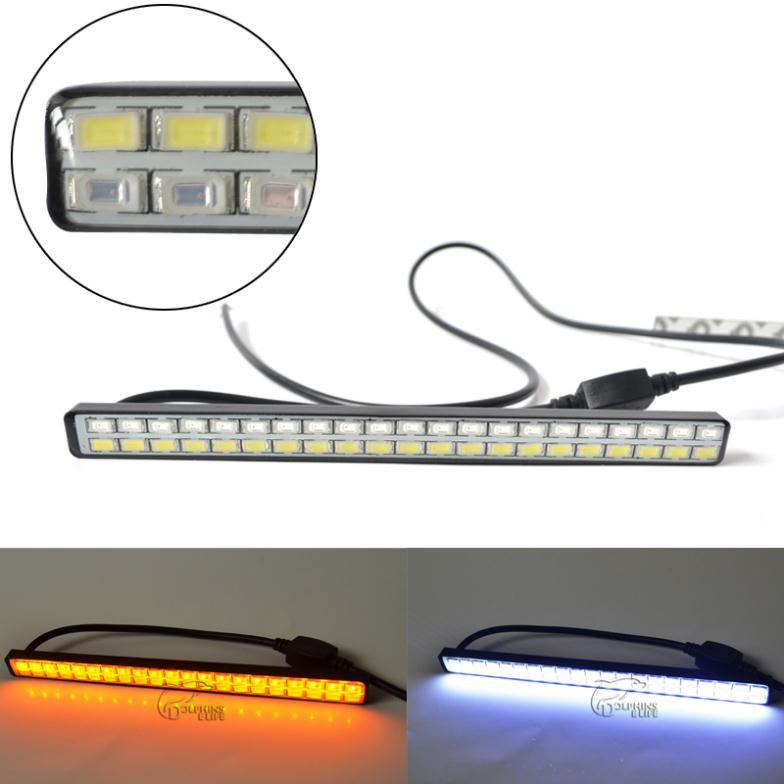 Гаджет  Newest 21 LED White + 21 LED Yellow 5630 Car styling Daytime running lights Turning Signal DRL Waterproof Free Shipping  None Автомобили и Мотоциклы