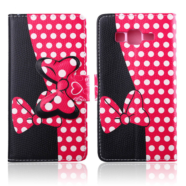 Leather Case For Samsung Galaxy G530h case Lovely Minnie Mouse BOWKNOT flip wallet Protector Cover Cartoon Bow Case 8 styles(China (Mainland))