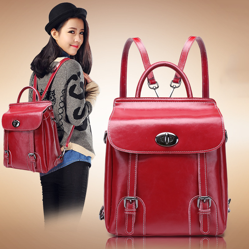 100% Oil Wax Genuine Leather 2016 Women Backpack Famous Band Shoulders Tote Bag Tracking School Bag Mochilas Femininas smb386(China (Mainland))