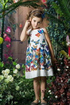 Hot Sale 2015 Summer Girl Dress Brand Baby Girls Dresses Kids Clothes Butterfly Print Children Dress Casual Princess Dress 2-7Y
