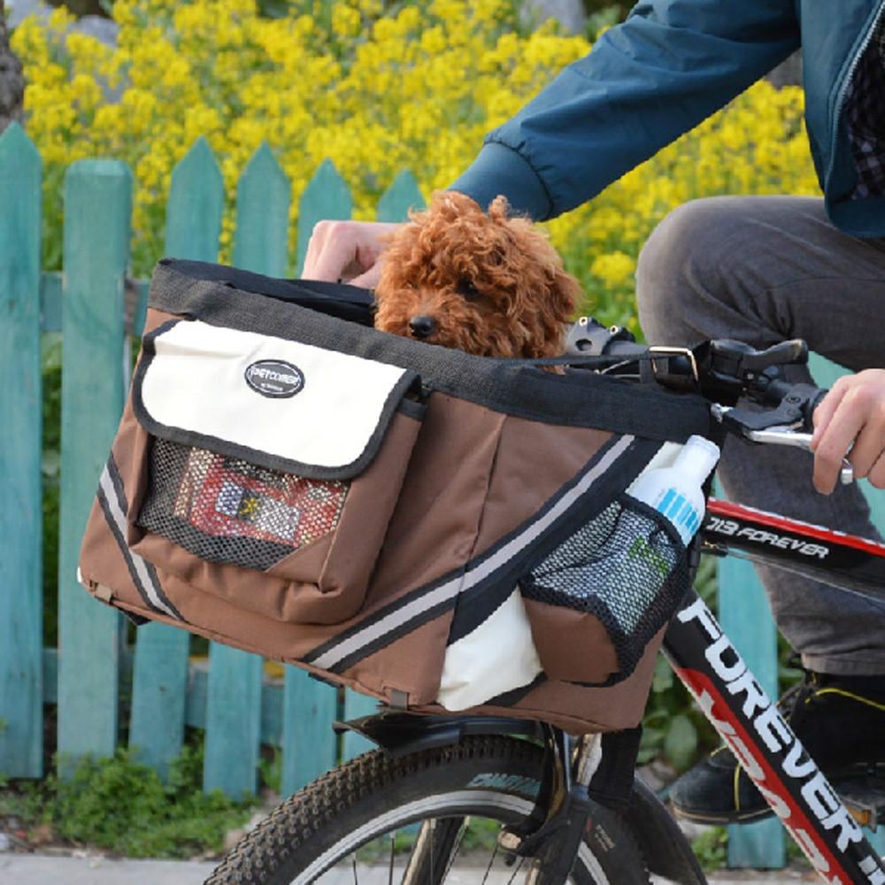 Pet Dog Cats Bicycle Carrier Oxford Easy Mounting Hand Bike Basket Car Seat Transportin para Perros Mascota(China (Mainland))
