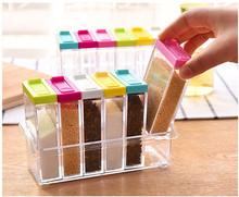 Transparent Spice Jar 2016 Newest Simple Colorful Lid Seasoning Box 6pcs/set Kitchen Tools Salt Condiment Cruet Storage Box(China (Mainland))