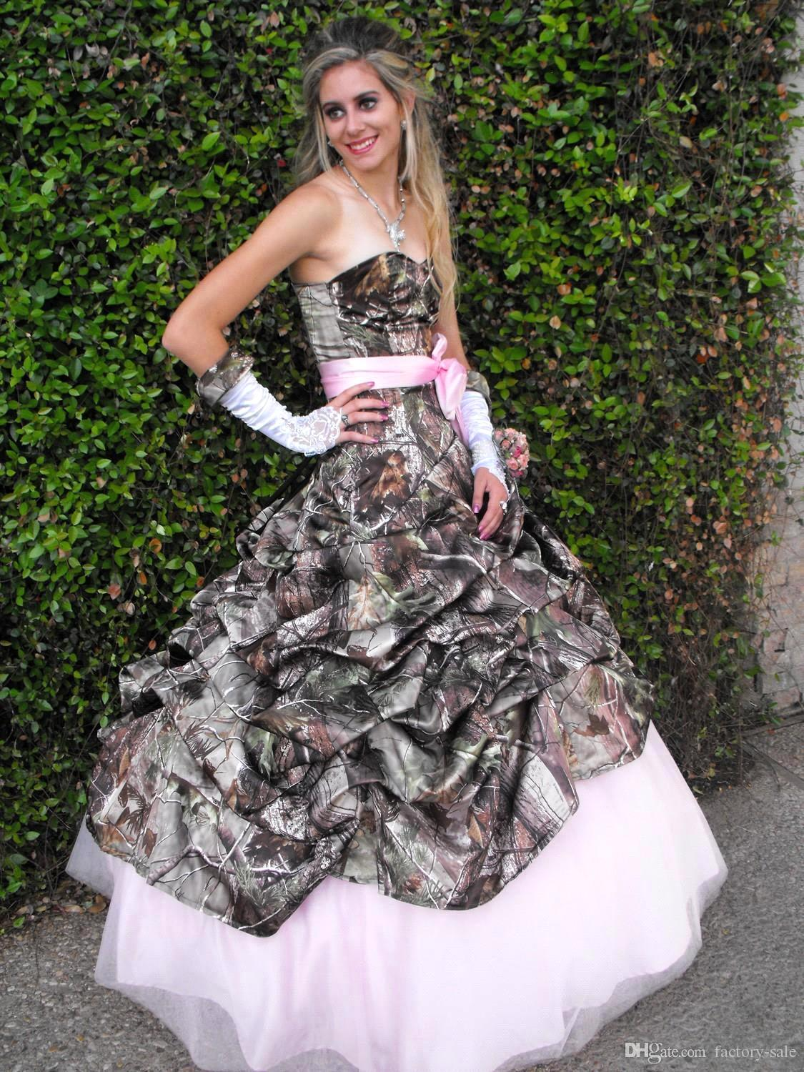 Printing pink camo wedding dresses 2015 new styles for Wedding dress pick up style