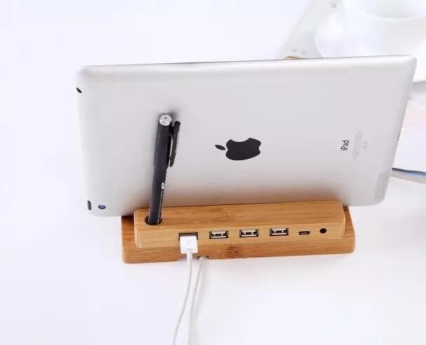ถูก ธรรมชาติไม้ไผ่ไม้ฮาร์ดแท็บเล็ตยืนพรีเมี่ยมPCที่วางโทรศัพท์สำหรับแอปเปิ้ลมินิiPad Ip Honeสมาร์ทนาฬิกามัลติฟังก์ชั่ยึด