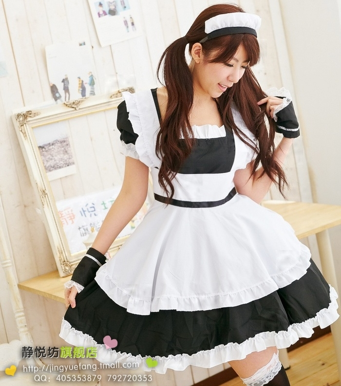 High quality Black and white princess dress cosplay maid lolita costume for Cosplay and Comic con