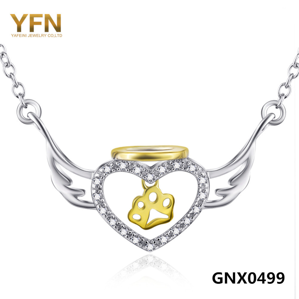 GNX0499 Genuine 925 Sterling Silver Angel Wings Heart Pendant Necklace Dog Paw Jewelry Cubic Zircon Necklace For Women 18inches(China (Mainland))