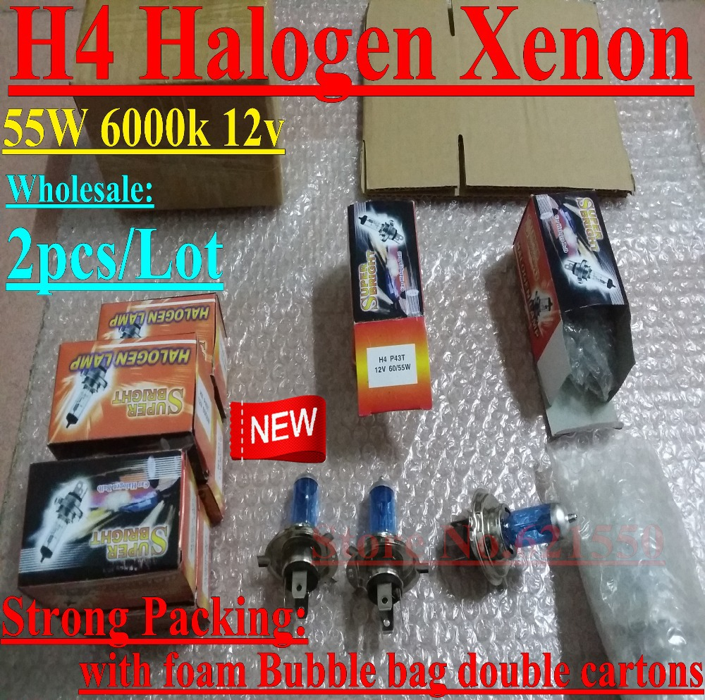 Factory Wholesale Upgraded 2pc Car Halogen Xenon Low Beam Super White 6000k 12v H4 60/55w,Xenon H4 Headlight Bulb Strong Packing(China (Mainland))