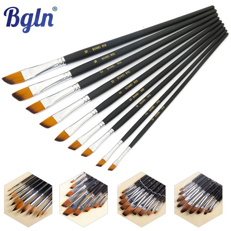 9pcs/set Nylon Paint Brush Set Round /Pointed/Flat /Oblique Shape Painting Brush For Oil ,Watercolor ,Acrylic Painting(China (Mainland))