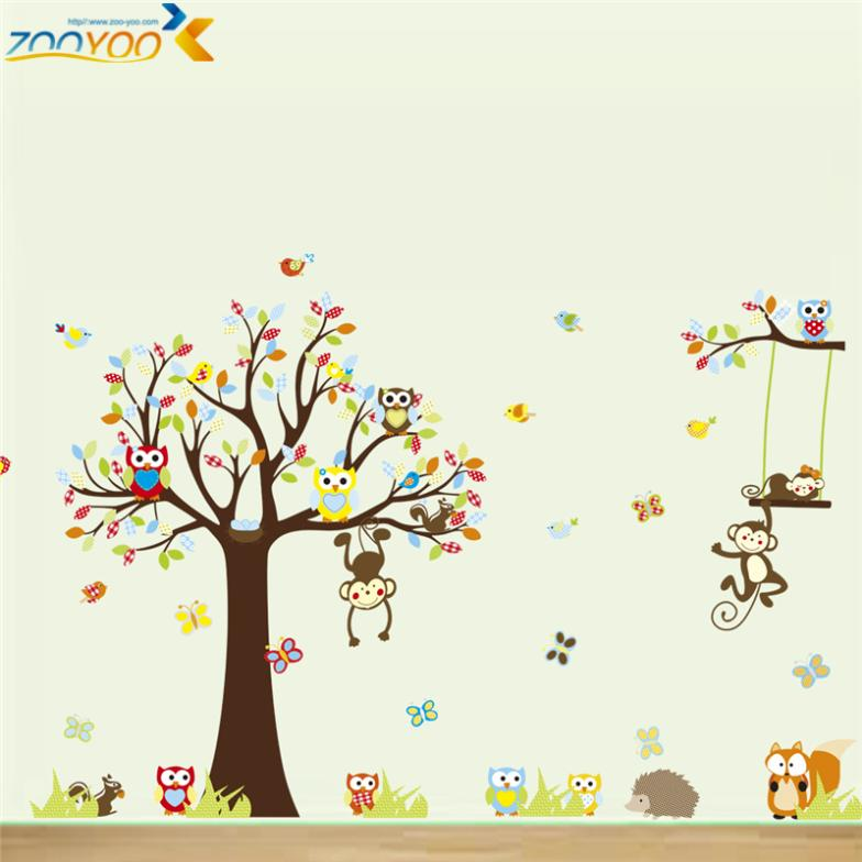 hot sellings monkey wall stickers for kids rooms zooyoo1212 baby room home decorations cartoon tree wall art animal wall decals(China (Mainland))